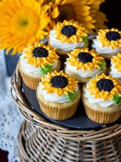 2/16/16 Karm, some beautiful and tasty Sunflower Cupcakes for you to enjoy with your tea or coffee <3