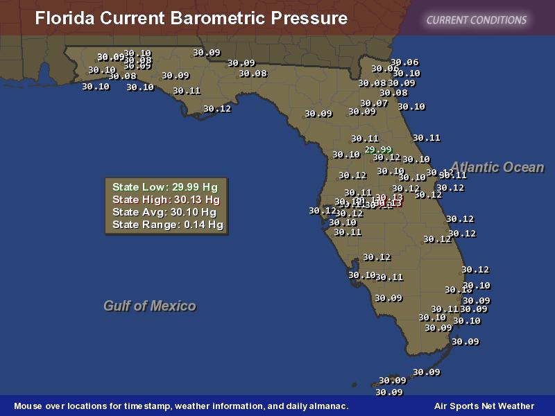 Florida Barometric Pressure Map Chemistry labs, Florida
