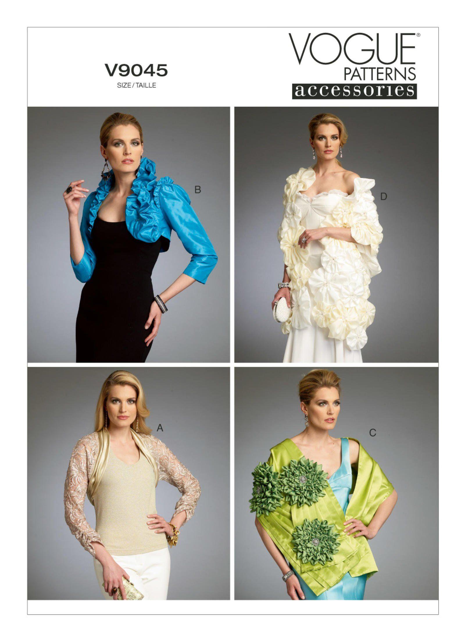 Sz Xsm Sml Med Vogue Accessories Pattern V9045 Misses