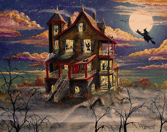 Folk Art HALLOWEEN Haunted House PRINT Hill Top by sunbyrum