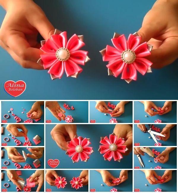 How to Make Little Kanzashi Flower