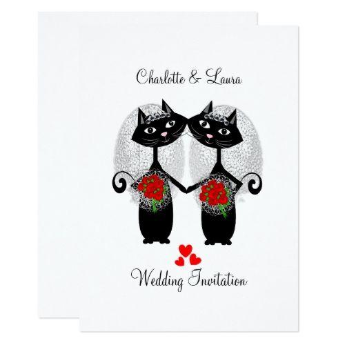 Lesbian Same Sex Marriage Cool Cats Wedding Card