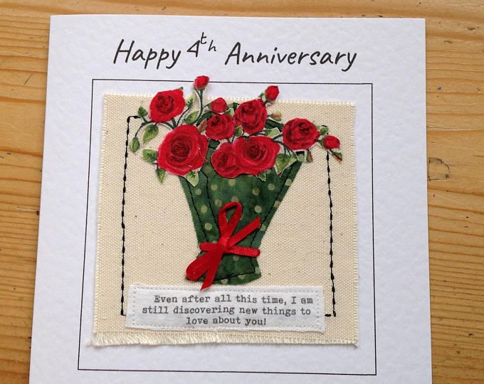 Bouquet Of Flowers Card For 4th Anniversary. Romantic Hand