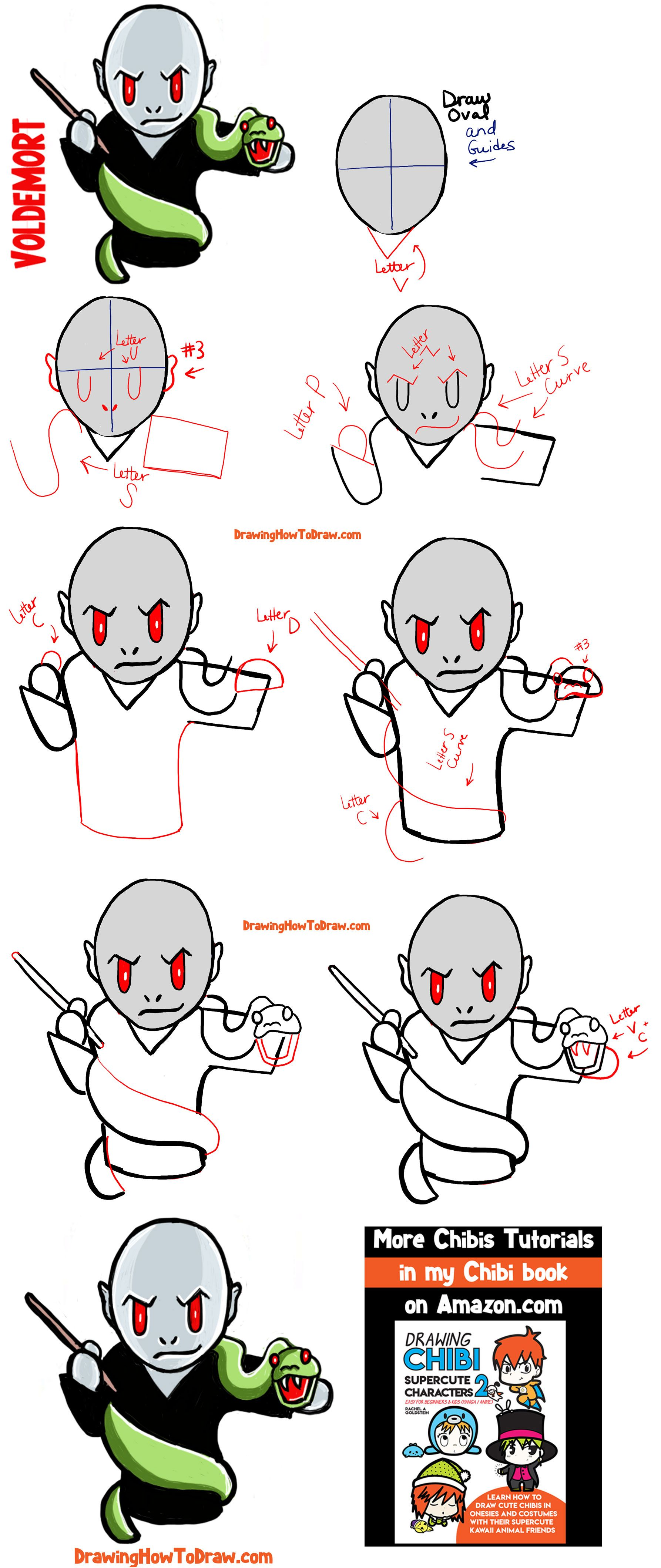 How To Draw Cute Chibi Voldemort From Harry Potter With