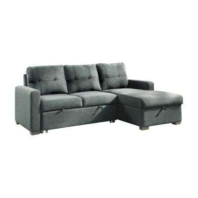 Brassex Inc Boris Left Facing Sectional Sofa With Pull Out Bed Sectional Sofa Sectional Sofa With Chaise Small Apartment Sofa