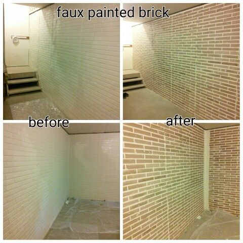 Faux Painted Bricks On Basement Wall Stamped Brick, Molded Concrete Wall
