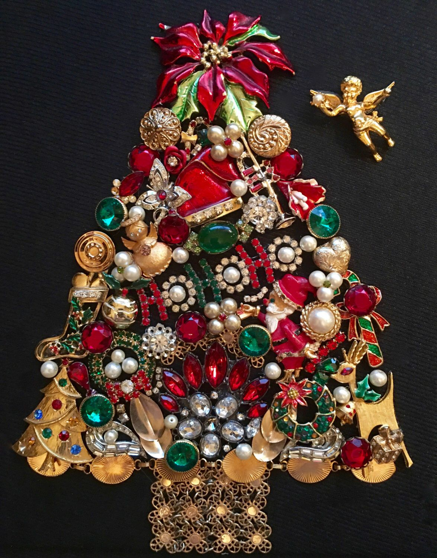 Vintage Jewelry Christmas Tree, Framed Art, \