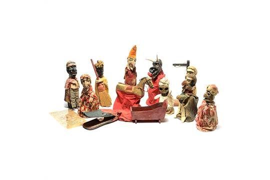 Early Americana Punch & Judy Folk Art Puppet Set and An Accompanying Broadside. This Americana pu