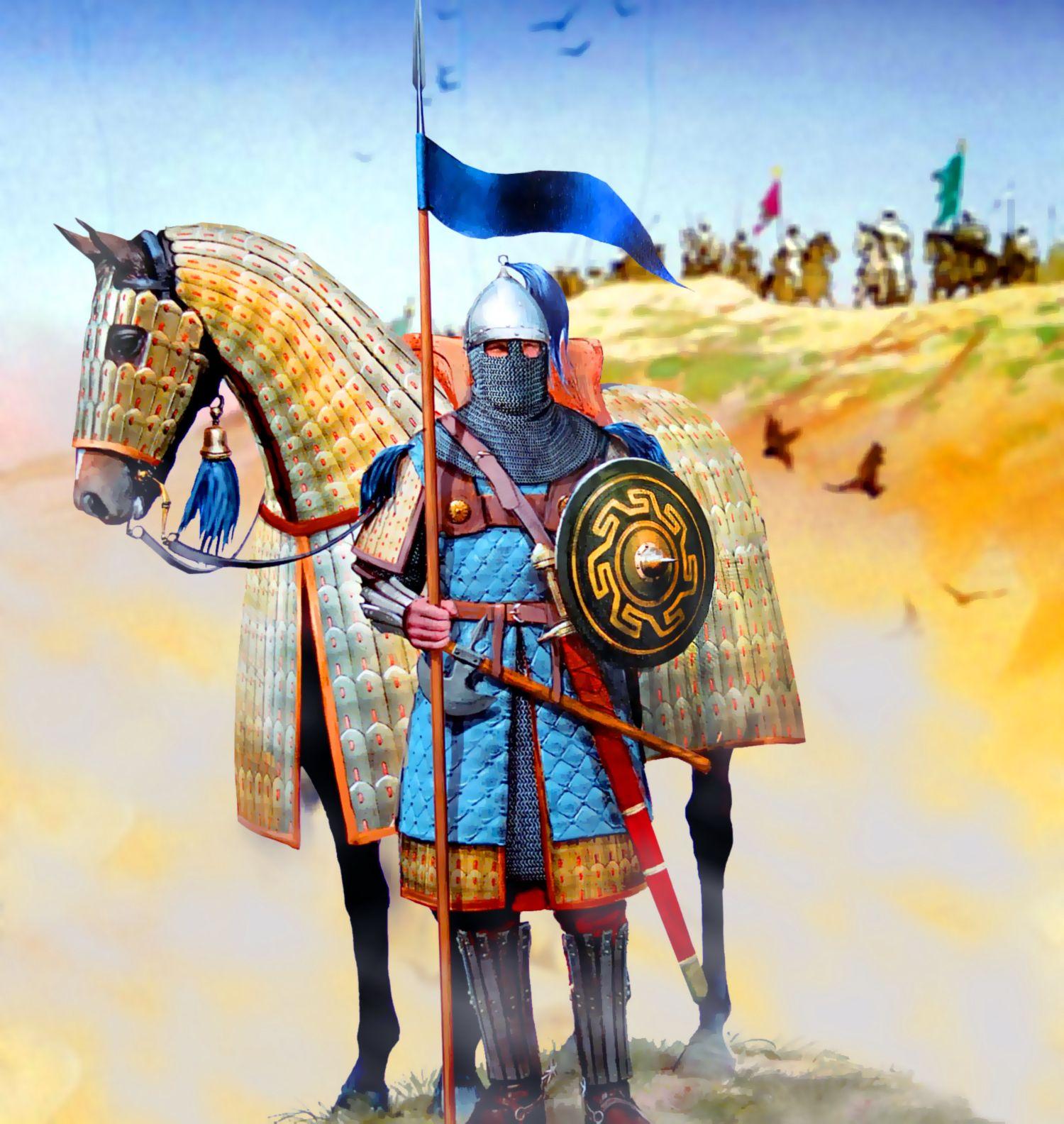 "Byzantine Clibanarius cataphract. The Clibanarii or Klibanophoroi (Greek:  κλιβανοφόροι, meaning ""camp oven-bear…   Byzantine army, Ancient warfare,  Byzantine empire"