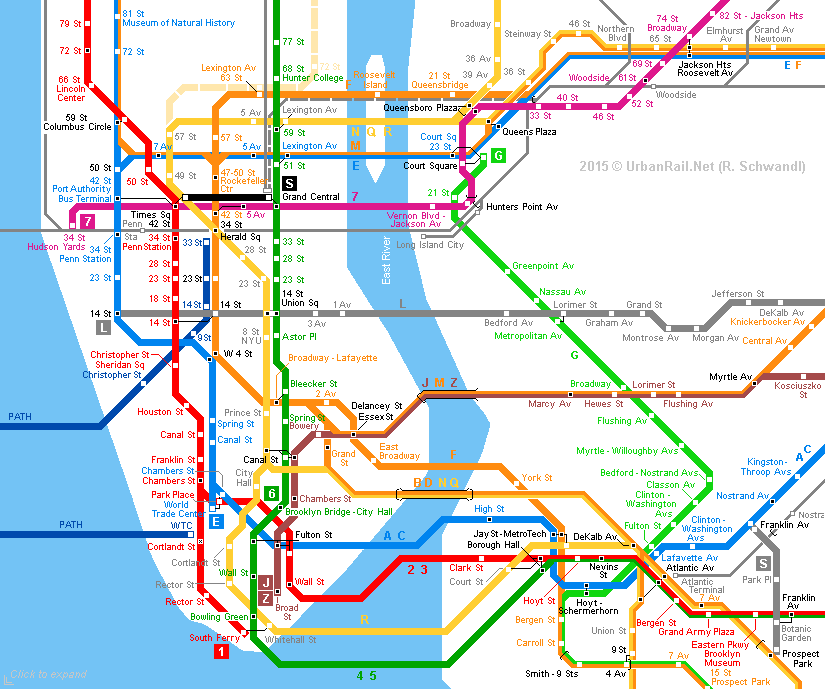 New York City Subway Map © Urbanrail Click To Expand: Nyc Map Subway At Usa Maps