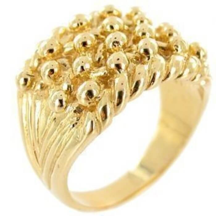 Mens 18ct yellow Gold Keeper Ring 4 Row mens rings