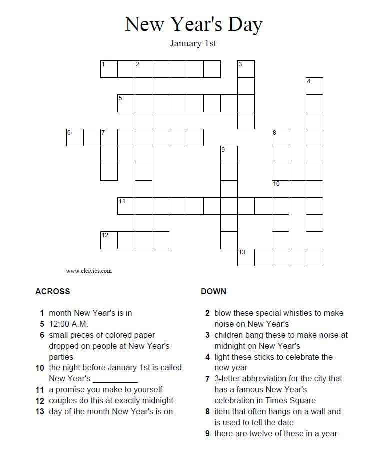 graphic about New Year Crossword Puzzle Printable named Pin via ESL @ Harper School upon Winter season Getaway Food items