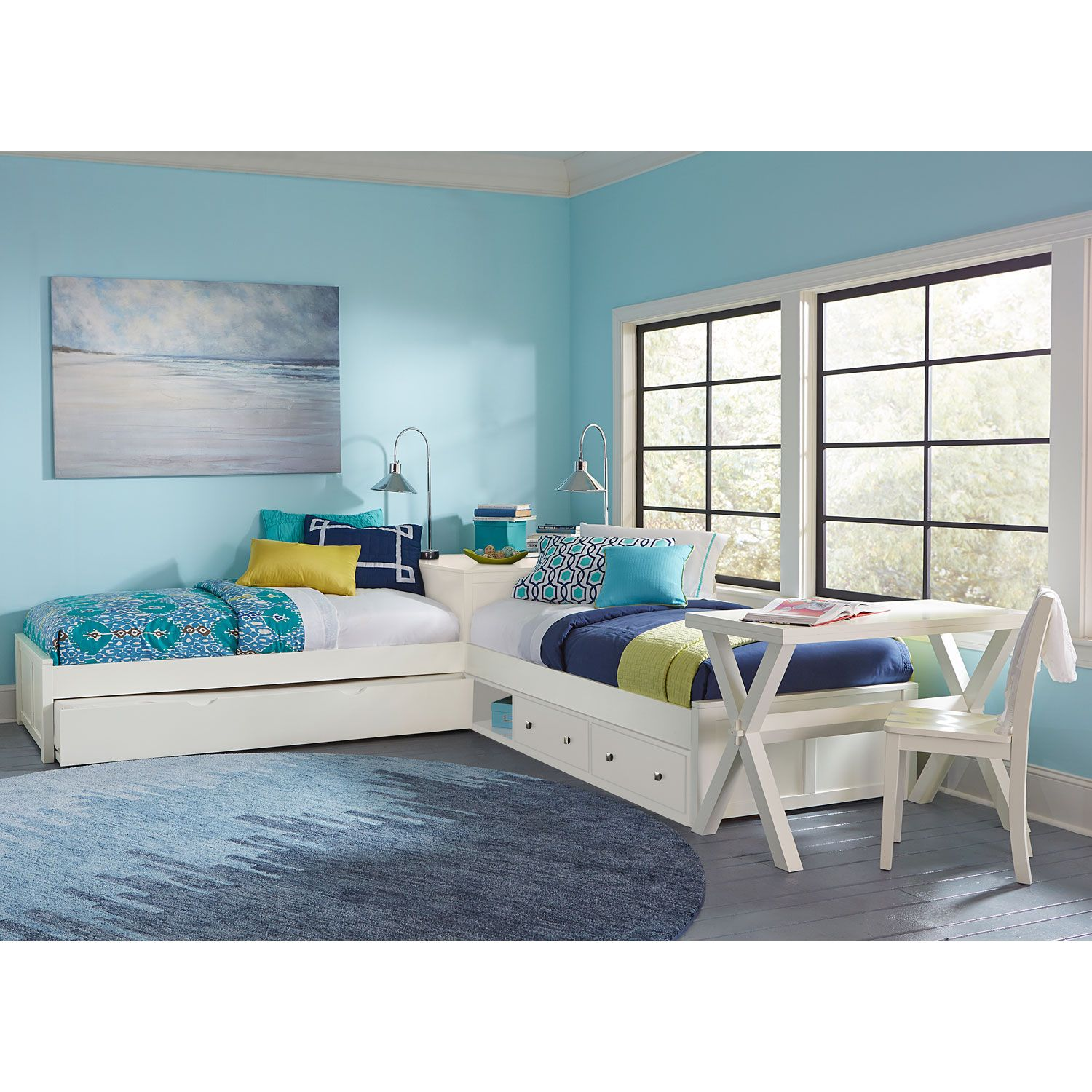 Ne kids pulse white l shaped bed with storage and trundle White twin trundle bedroom set