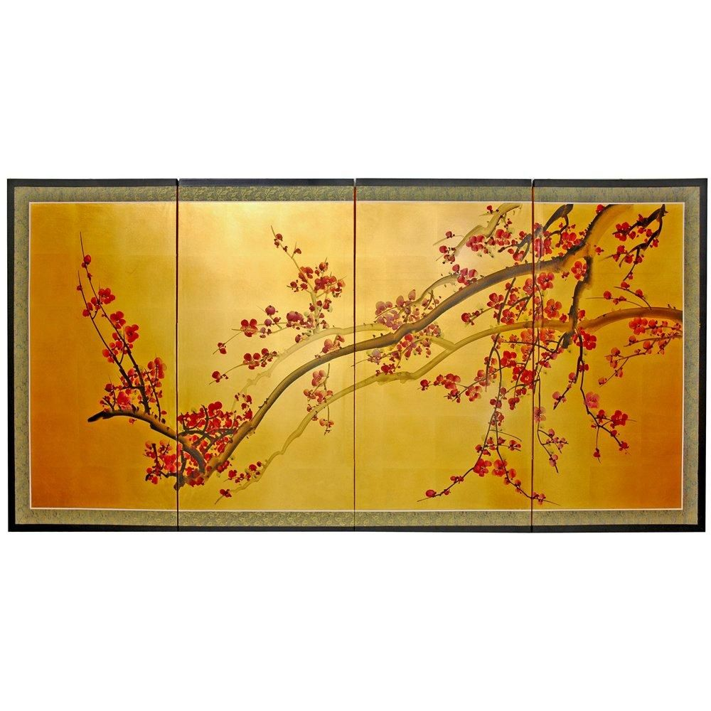 Plum Tree on Gold Leaf Silk Screen - OrientalFurniture.com | Miles ...