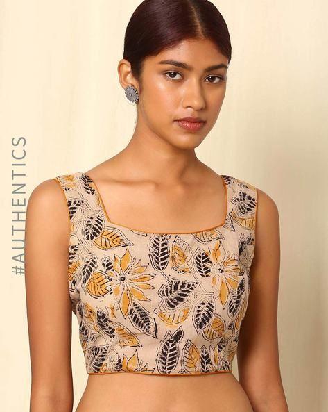 da0cee949 Buy Beige Indie Picks Kalamkari Handblock Print Cotton Sleeveless Blouse