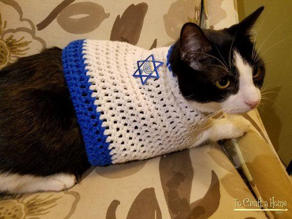 Hanukkah Cat Sweater hanukkah cat clothing,clothes for cats