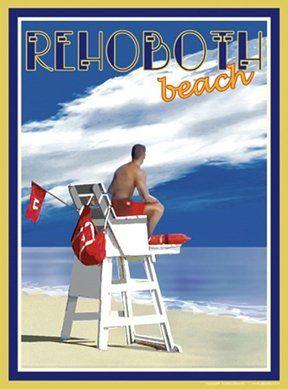 Amazon com - Rehoboth Beach Lifeguard-Art Deco Style Vintage