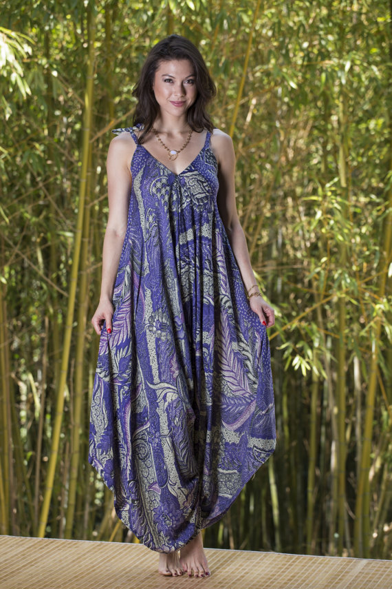 9493575d36 Wide Leg Womens Gypsy Long Jumpsuit Dress in Purple Batik,Summer Resort Beach  Swimsuit Coverup,One p
