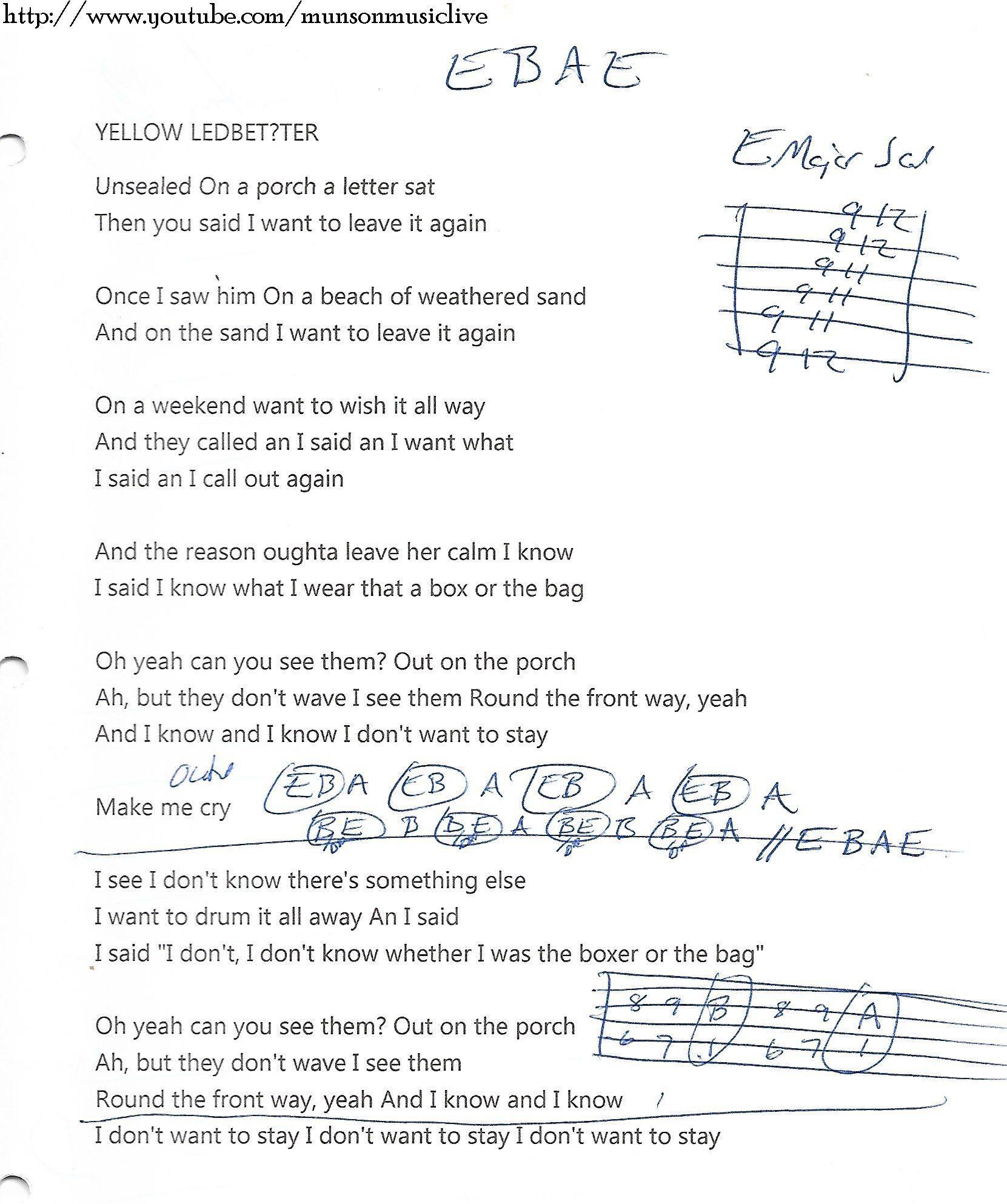 Yellow Ledbetter Pearl Jam Guitar Chord Chart Jazz Guitar Lessons Guitar Chords Guitar Chord Chart