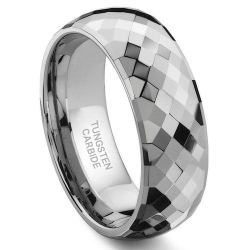 VENUS Tungsten Carbide 6MM Faceted Wedding Band Ring in 2019