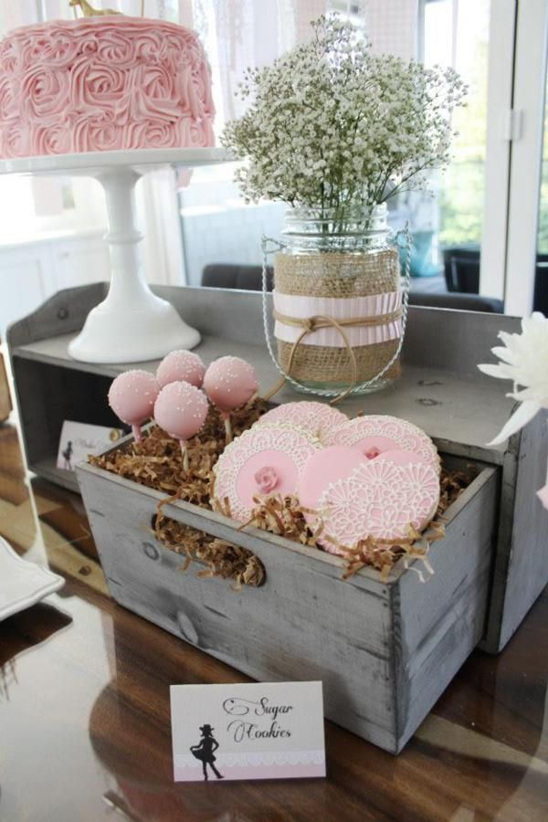 Vintage girls party babys breath cake pops pink perfect for a