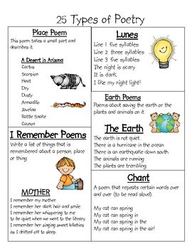 different types poetry styles