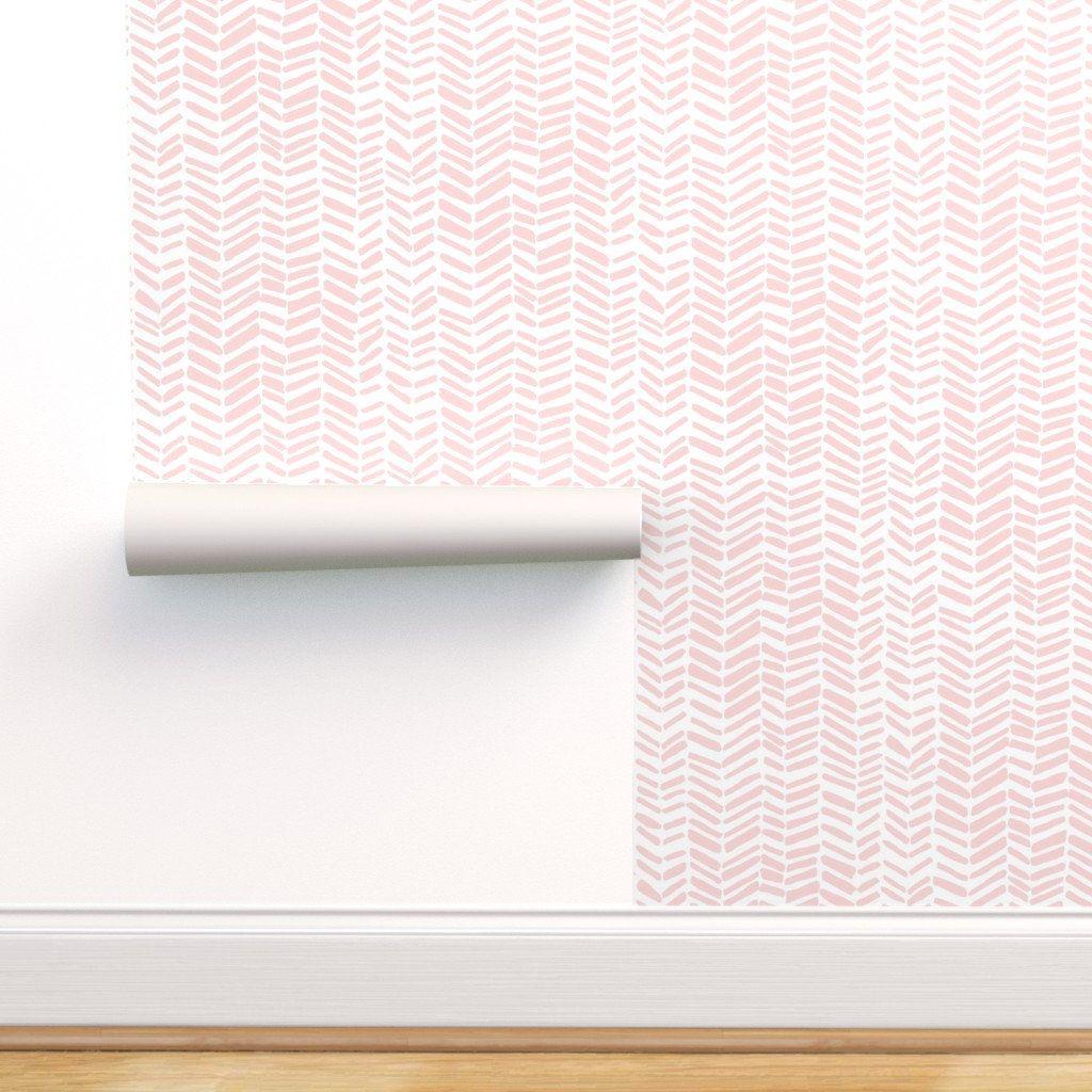 Herringbone Wallpaper Impression White Pink By Leanne Etsy In 2020 Herringbone Wallpaper Self Adhesive Wallpaper Peel And Stick Wallpaper