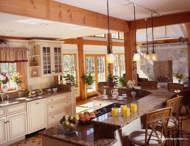 Kitchens category kitchens davis frame farmhouse for Post and beam kitchen ideas