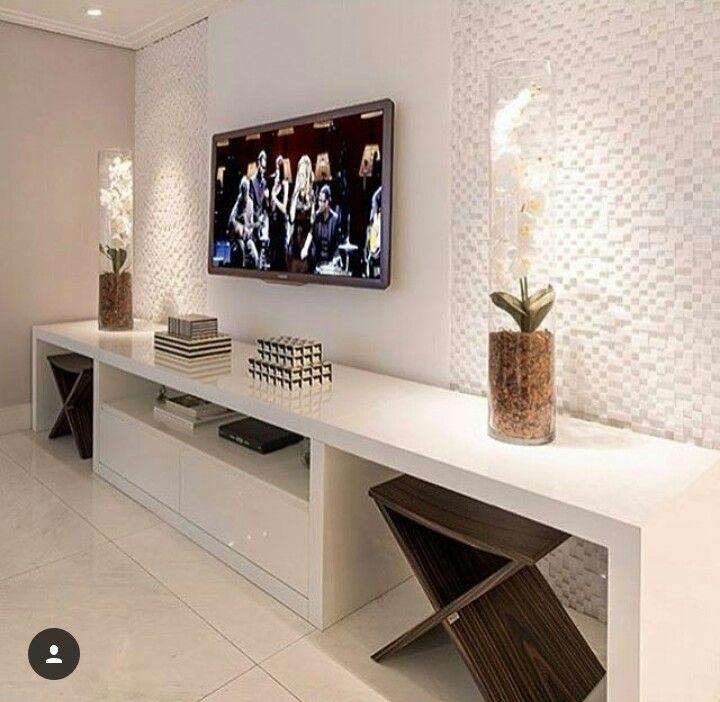 Pin de Paola Fialho em Nosso Apartamento Muebles sala, Sala familiar e Sala de estar moderna # Decoração De Sala De Estar Com Painel De Tv