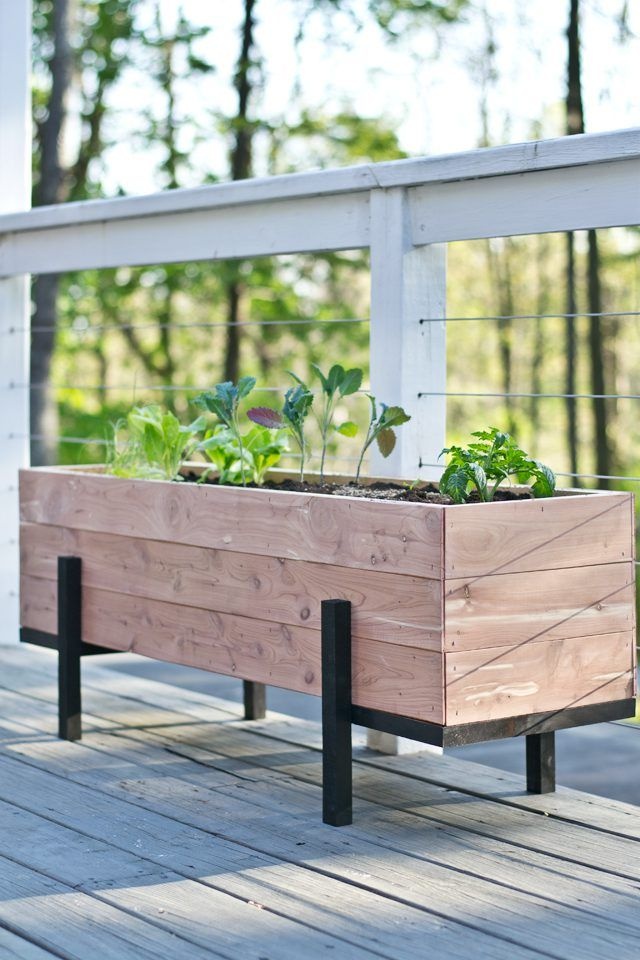 How To Build A Cedar Planter And Grow Your Own Salad Garden With A Few Simple Materials And Tools You Diy Wood Planters Diy Wood Planter Box Custom Planters