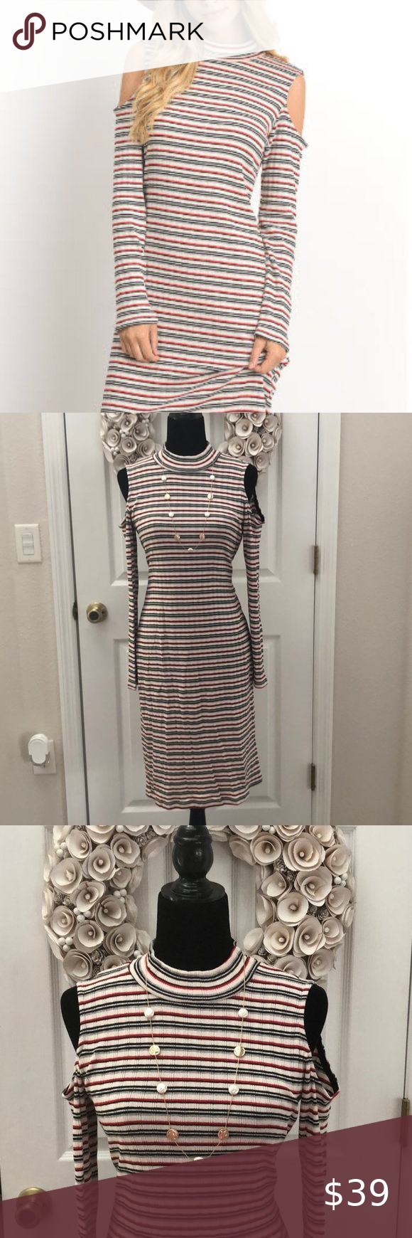Gilli Stripe Knit Dress With Cold Shoulders In 2020 Striped Knit Dress Kitten Dress Clothes Design [ 1740 x 580 Pixel ]