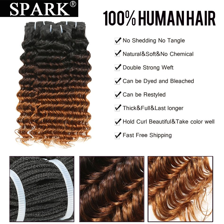 Spark Human Hair Bundles with Lace Closure Ombre Indian Deep