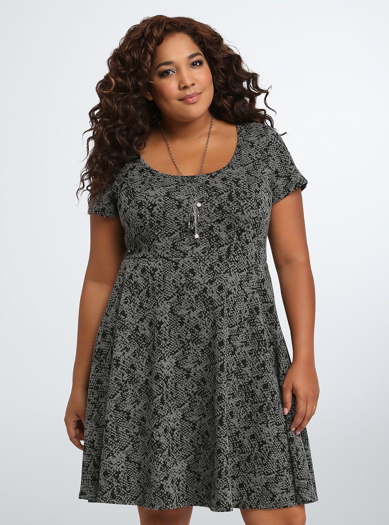 58cb1df3b77e9 Textured Double Knit Skater Dress