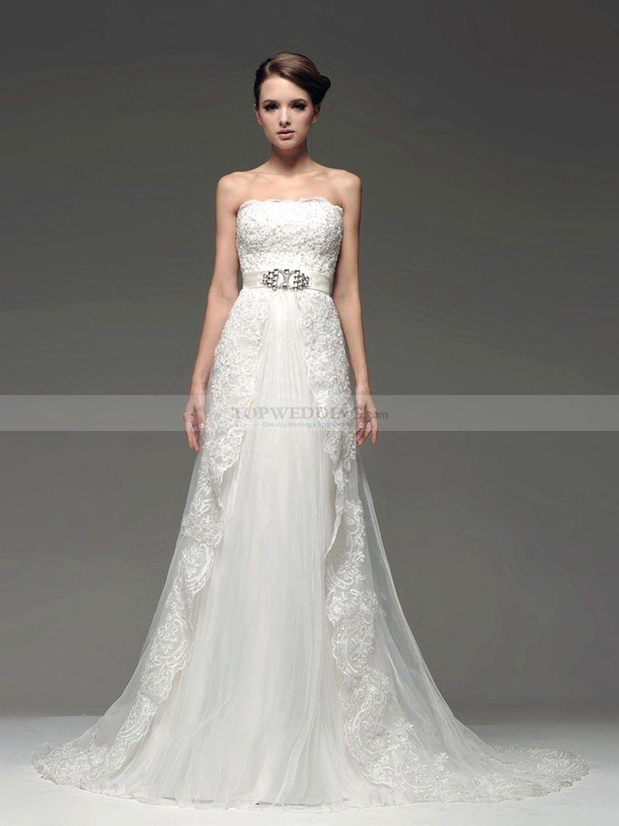 Tulle mermaid wedding dress  Strapless Tulle Mermaid Bridal Gown with Satin Sash  Mermaid bridal