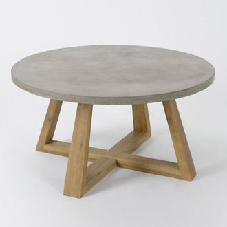 table basse ronde en bois et plateau béton diamètre 92 cm rustic