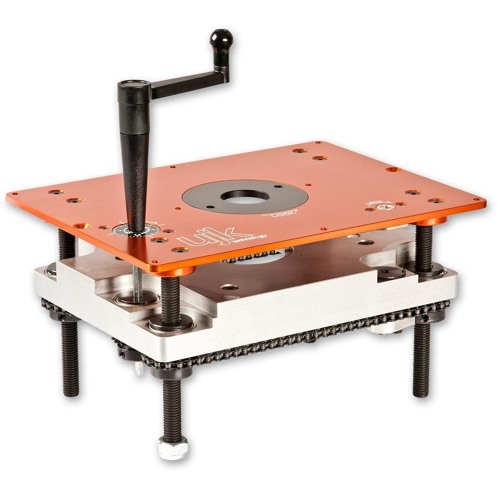 Ujk technology router elevator router table woodworking and woods raising and lowering a router in a table set up can be a chore if you have to reach under the table each time you need to change the depth of cut greentooth Choice Image