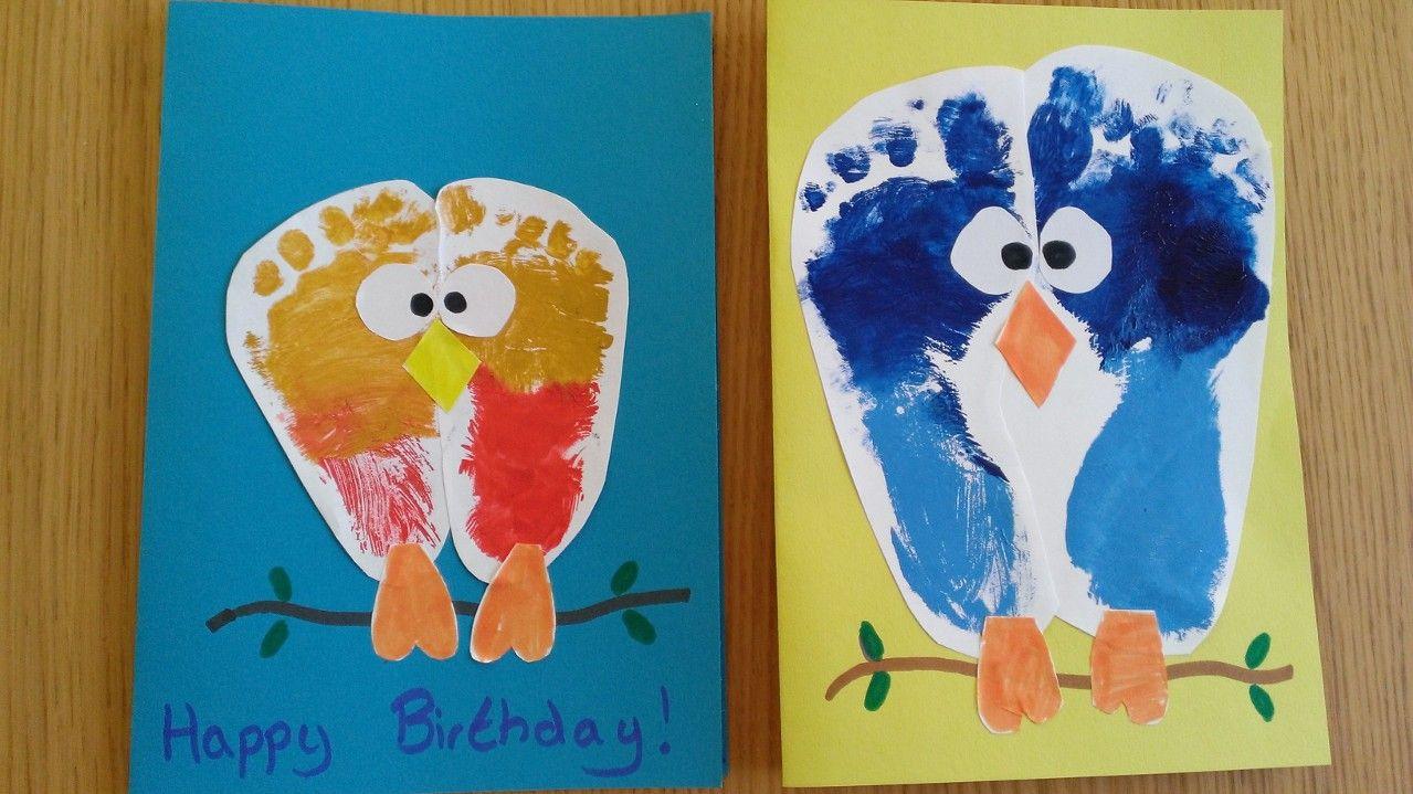 Kids craft birds owls foot print birthday card family tree