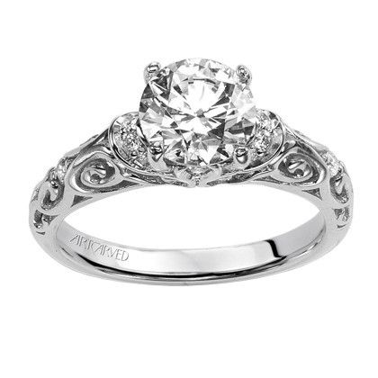 Artcarved Peyton Diamond Engagement Ring In 14k White Gold Featuring Scrollwork Design