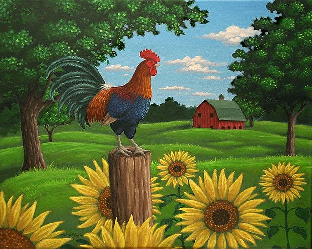 Hen house wallpaper border country chicken farm rooster Kitchen screensaver