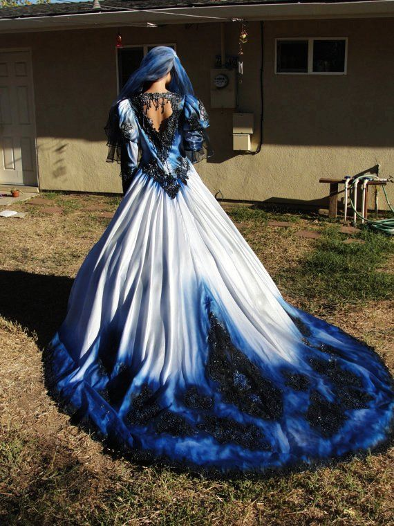 Gothic Wedding Gown In Metalic Blue And Black With Matching Veil Hand  Painted And Dyed Halloween