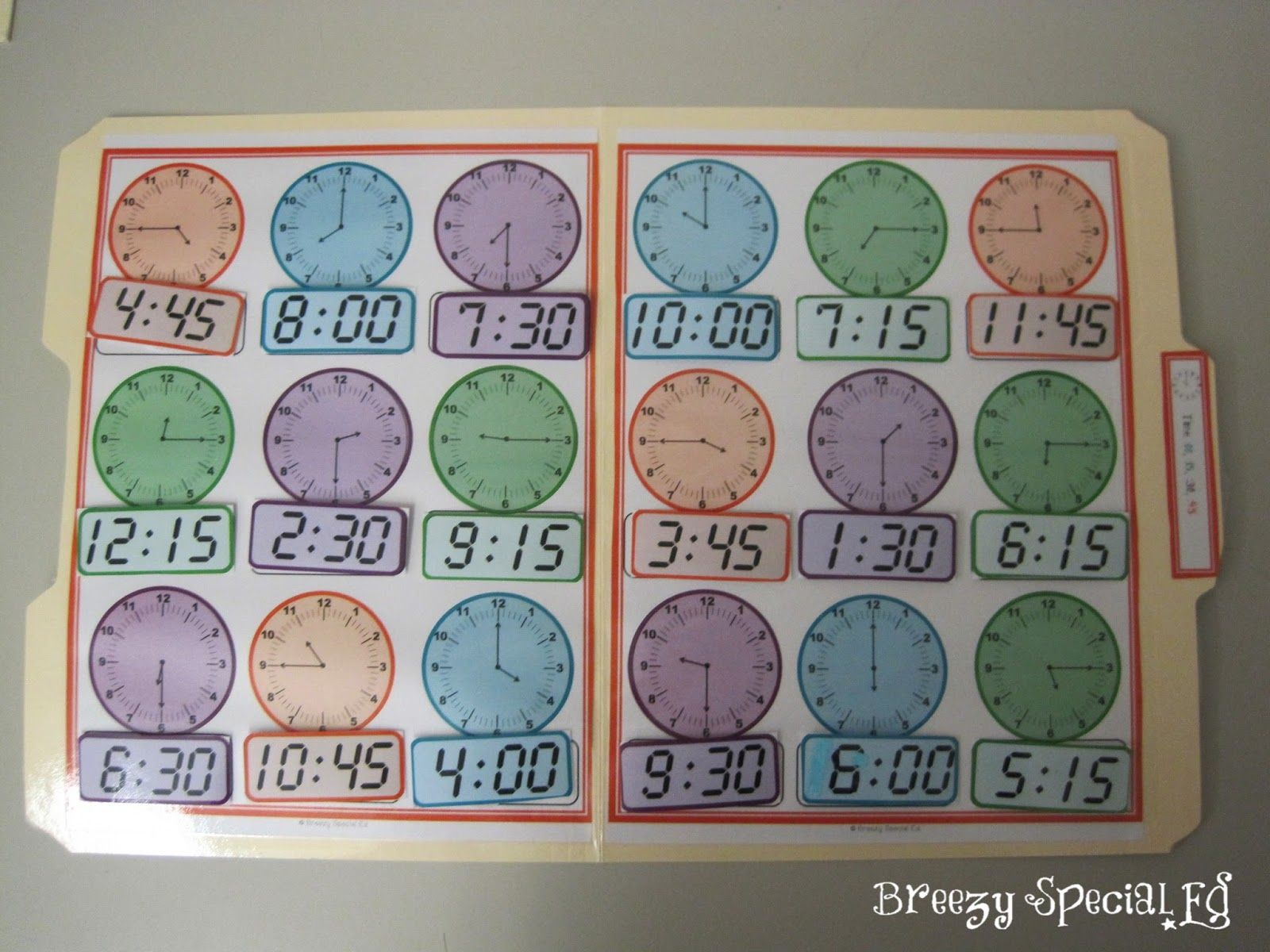 Telling Time File Folders For Special Education With Color