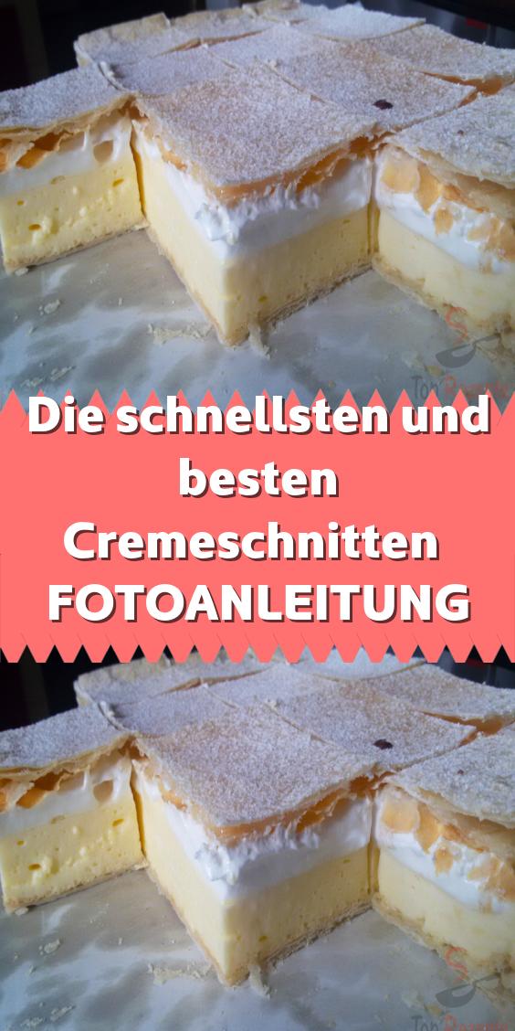 Die schnellsten und besten Cremeschnitten FOTOANLEITUNG #cremepuff Die schnellsten und besten Cremeschnitten. Blätterteig Puddingcreme Schlagsahne und Puderzucker obendrauf.