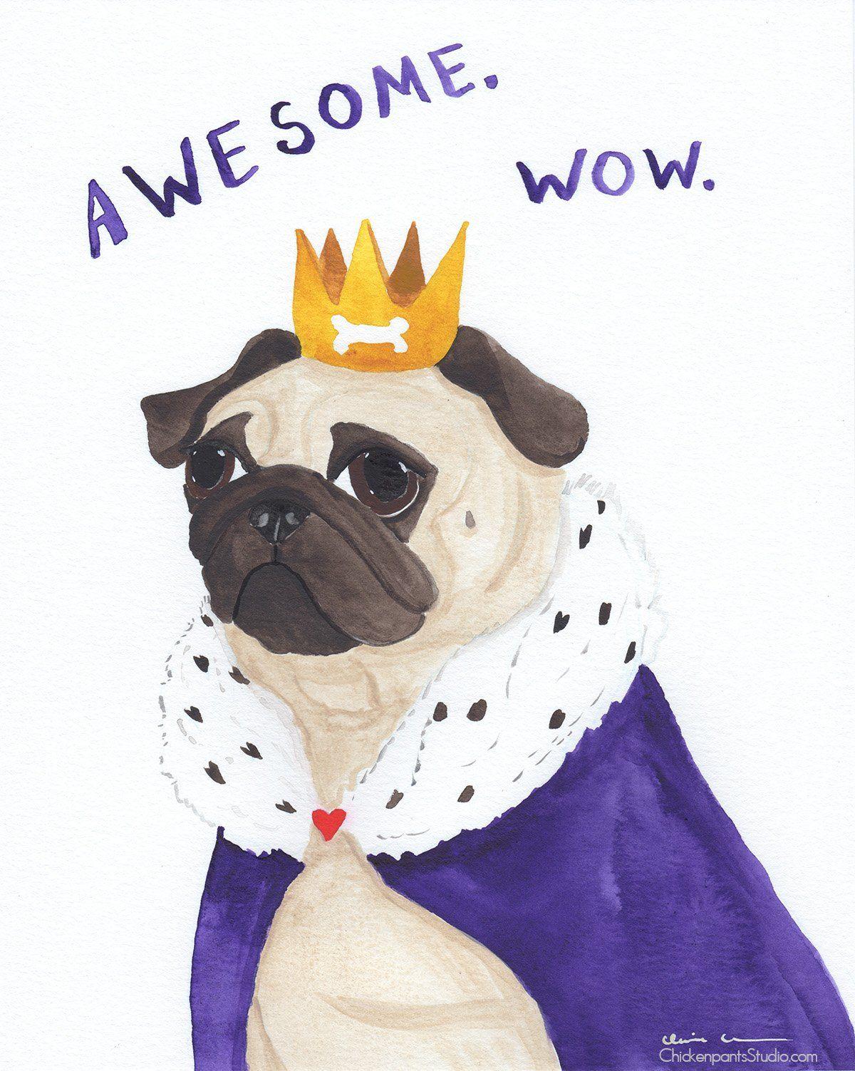 Awesome Wow Original Pug Watercolor Painting Pugs Black Pug