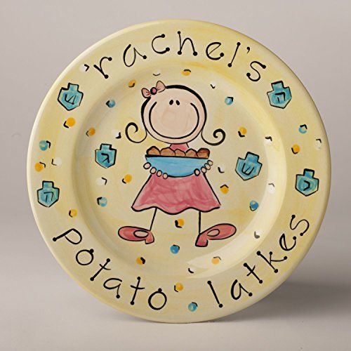personalized potato latke chanukkah plate for girl ** Click image for more details.