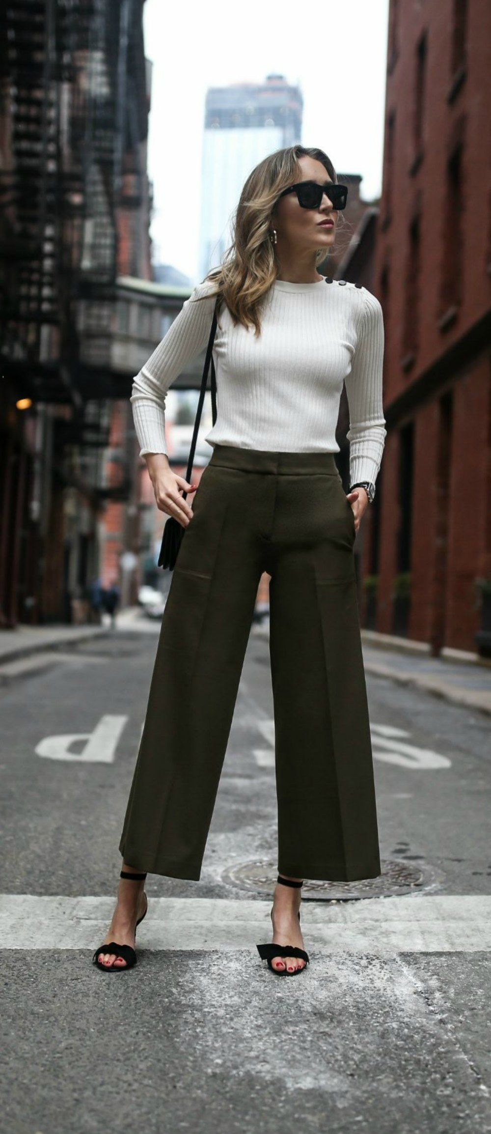 wide leg cropped olive pants, ankle length culottes, classic ivory ribbed light ... 9