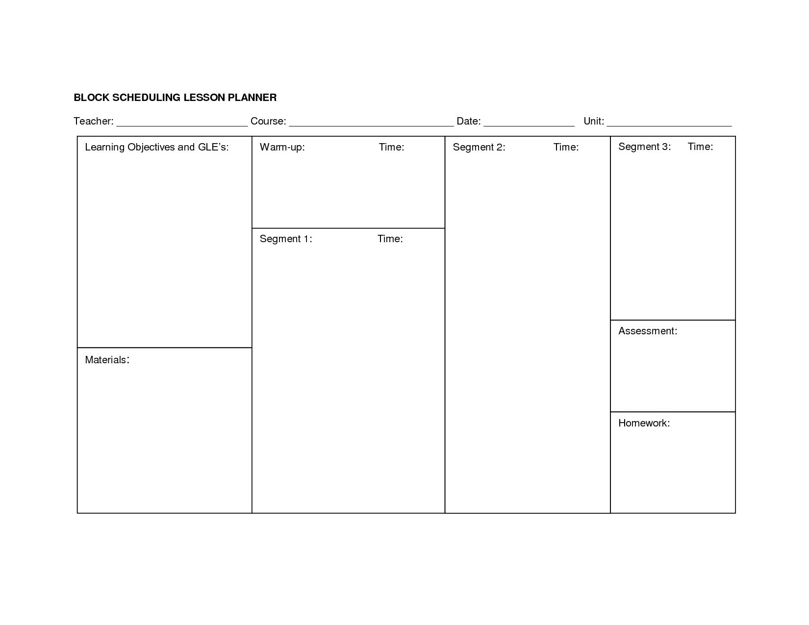 Middle School Block Schedule Template Kubreforic
