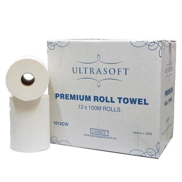 Caprice Ultrasoft Hand Towel Roll 12 X 100 metre The Ultrasoft roll towel provides your commercial washroom, workplace or hospitality venue with a dependable and absorbent paper towel option. At 100 metres long, it's a luxurious and effective choice for high-traffic bathrooms. 12 Ultrasoft Rolls in a Box
