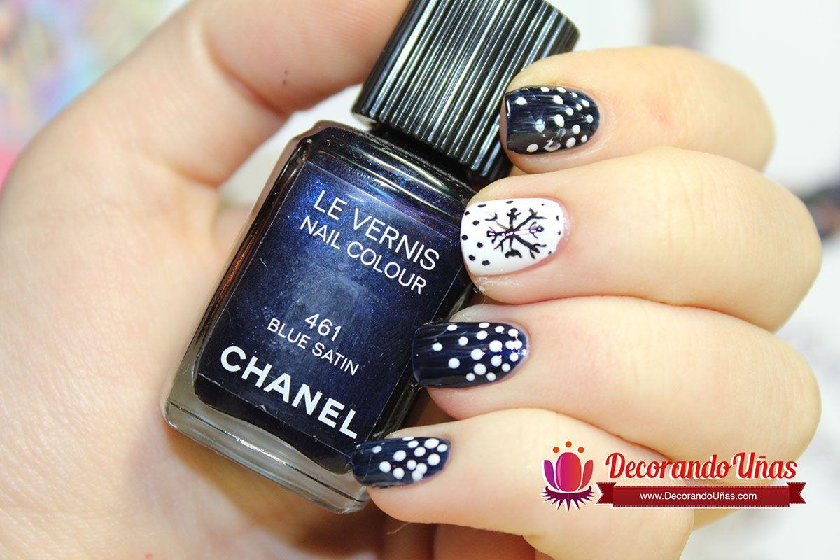 Decoración navideña para uñas en color azul – Video Tutorial paso a ...
