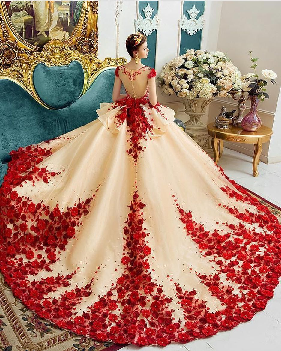 Beautiful Red And White Wedding Dress: A Beautiful Beige Ballgown Wedding Dress With Red Floral