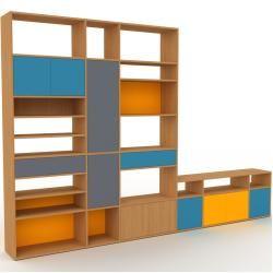 Photo of Wohnwand Eiche – Individuelle Designer-Regalwand: Schubladen in Anthrazit & Türen in Blau – Hochwert